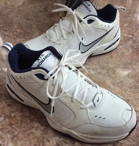 Nike Air Monarch IV Men s White Navy Cross-Trainers Shoes Size 13 ... 912e5b55d