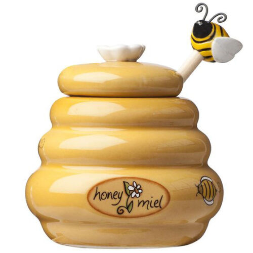 Mini Honey Pot Ceramic Jar /& Wood Dipper Joie MSC Beehive with Bee