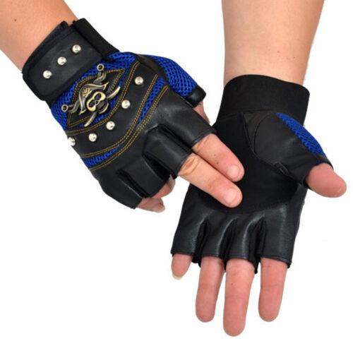 PU Leather Skull Punk Driving Motorcycle Biker Fingerless Gloves Men Women Gifts