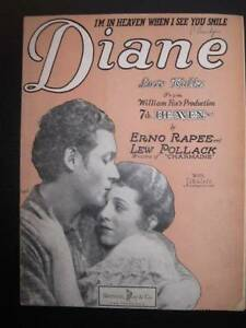 Im-In-Heaven-When-I-See-You-Smile-Diane-Sheet-Music-Vintage-1927-7th-Heaven-O