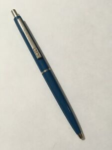 VINTAGE-PAPER-MATE-BLUE-CHROME-TRIM-BALLPOINT-PEN-MADE-IN-USA-BLUE-INK