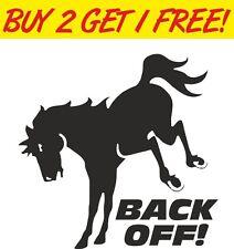Horse Back Off Warning Bumper Vinyl Window Sticker Car Novelty Horsebox Trailer