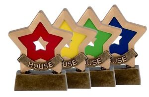 SOLID RESIN SCHOOL HOUSE COLOURS MINI STAR TROPHY 8cm FREE ENGRAVING A951 GMS