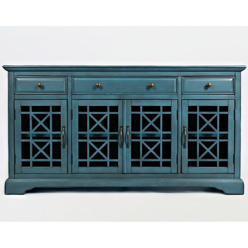 Buffet Sideboard Console Table BLUE Finish Dining Living Room TV Stand  Cabinet