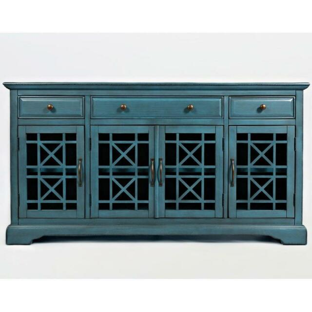 Buffet Sideboard Console Table BLUE Finish Dining Living Room TV Stand Cabinet For Sale Online