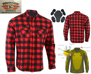 Australian-BikerGear-Motorcycle-CE-armour-Flannel-Shirt-lined-with-DuPont-Kevlar