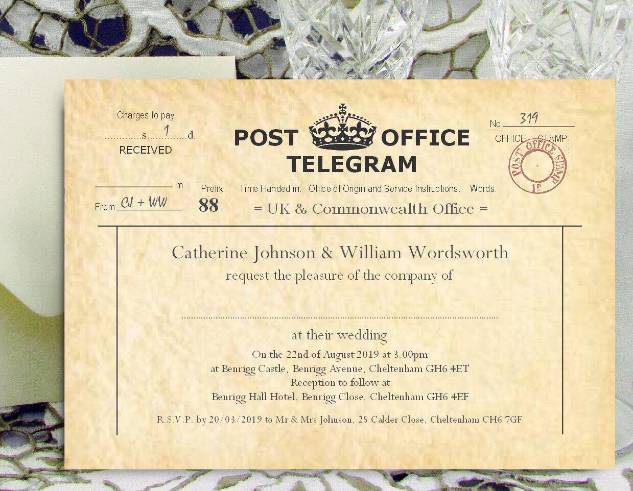 Personnalisé mariage invitations vintage télégramme design invite avec enveloppes