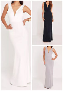 8274d3f050a7 Image is loading MISSGUIDED-v-plunge-maxi-dress-M57-5