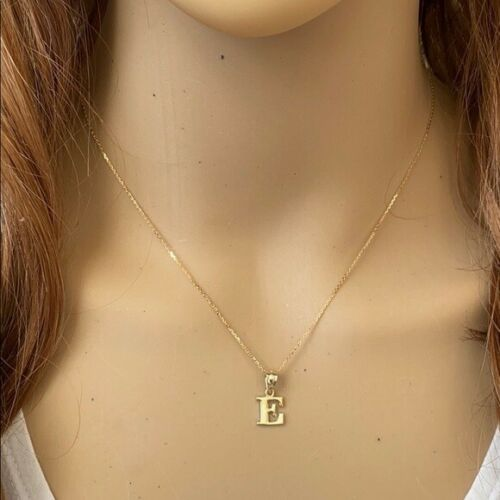Details about  /14k Solid Real Yellow Gold Small Mini Initial Letter F Pendant Necklace