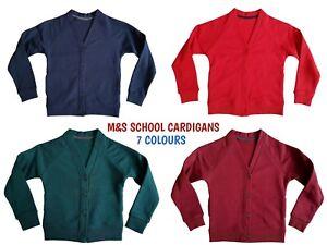 EX M+S Girls Boys School Jumper Kids Sweater Uniform Red Blue V Neck Crew Neck