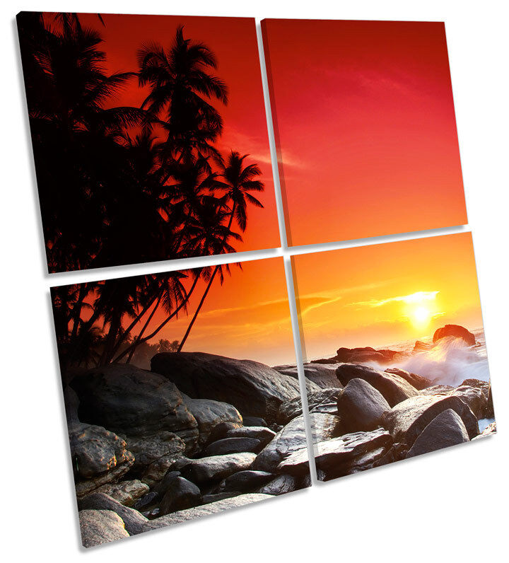 Sunset Tropical Playa MULTI arte LONA pared arte MULTI Foto Cuadrado 6d69d3