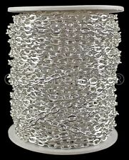 Cable Chain Spool - 100 Feet - Shiny Silver Color - 4x6mm Link - Bulk Rolo