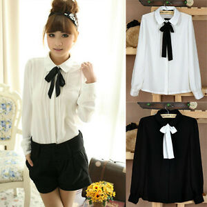New Elegant Womens Folds Bow Long Sleeve Chiffon Blouse Shirt Tops ...