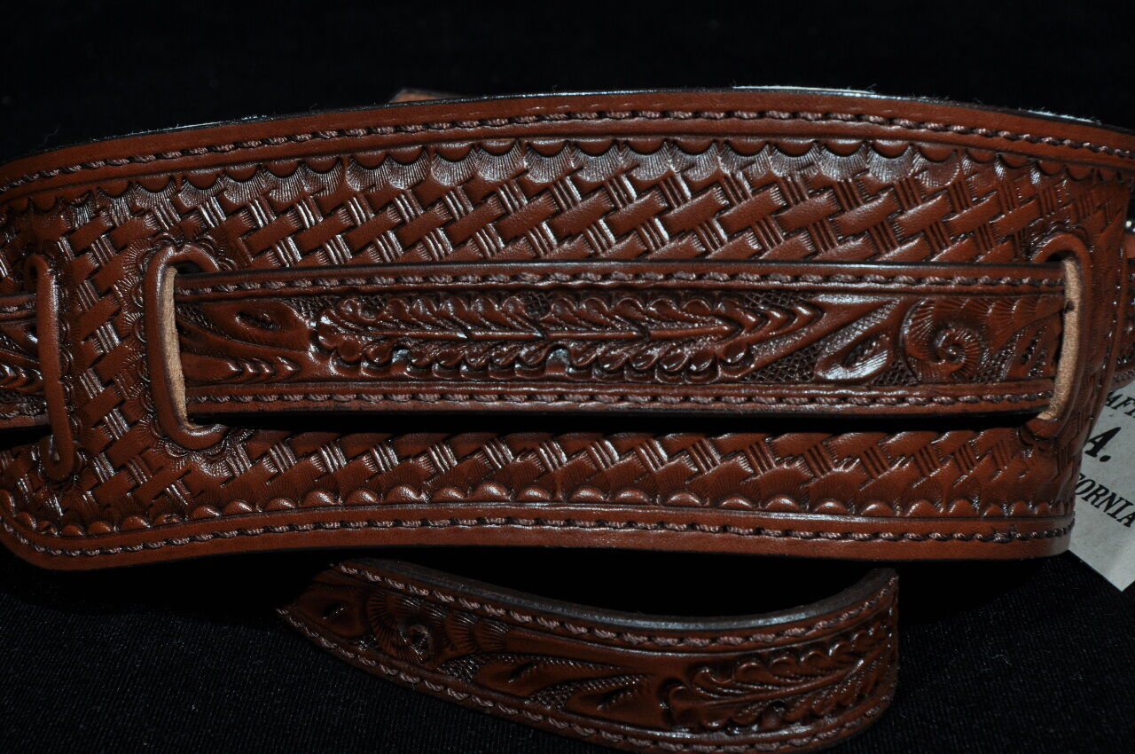 EL DORADO VINTAGE MODEL TOOLED braun GUITAR STRAP MED-LG 45''-  51''
