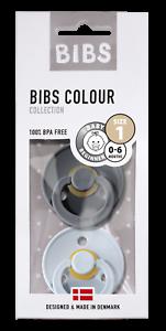 Nat.Schuk 0-6M BIBS Schnuller Colour 2er Pack Gr.1 Iron//Baby Blue