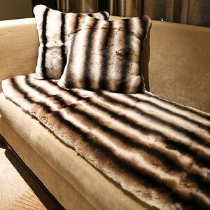 Real Rex Rabbit Fur Striped Brown Blanket & Real Fur Throw Set/Fur Carpet Set