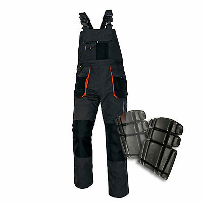 Bib And Brace Overalls Mens Work Trousers Knee Pad Multi Pocket Dungarees New.