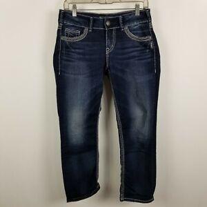Silver-Suki-Womens-Cropped-Capri-Dark-Wash-Blue-Jeans-Size-27
