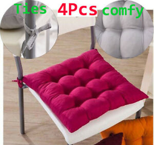 Chair Cushions Set Of 4 Garden Dining Tie On Chair Seat Cushion Pads Non Slip Ebay