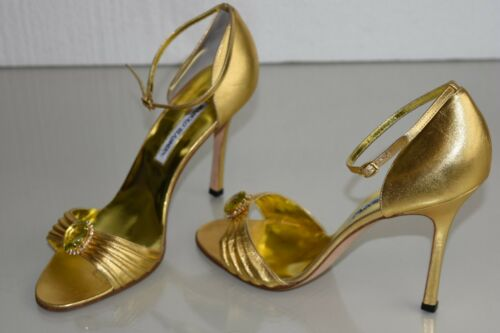 NEW MANOLO BLAHNIK SANDALS GOLD LEATHER Emerald JEWELED ANKLE STRAP SHOES 41.5