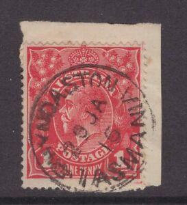 Tasmania-RHYNDASTON-1915-postmark-on-1d-KGV-piece