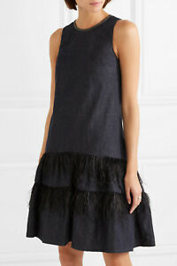2525-Brunello-Cucinelli-NWT-Feather-Trimmed-Tiers-Bead-Embellished-Denim-Dress