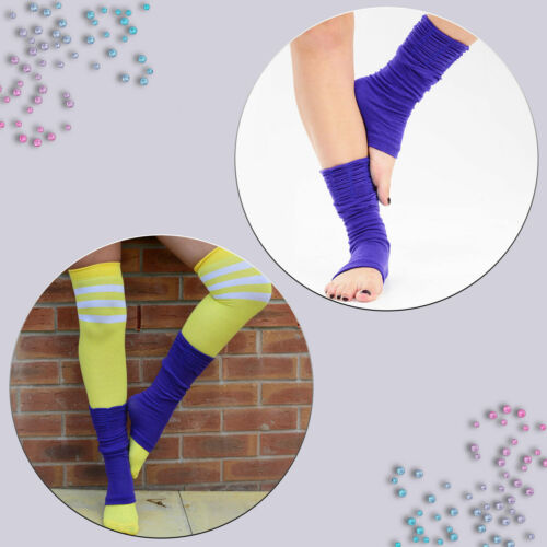 Womens Fancy Dress Plain Leg Warmers Neon 80s Party Disco Dance Wear