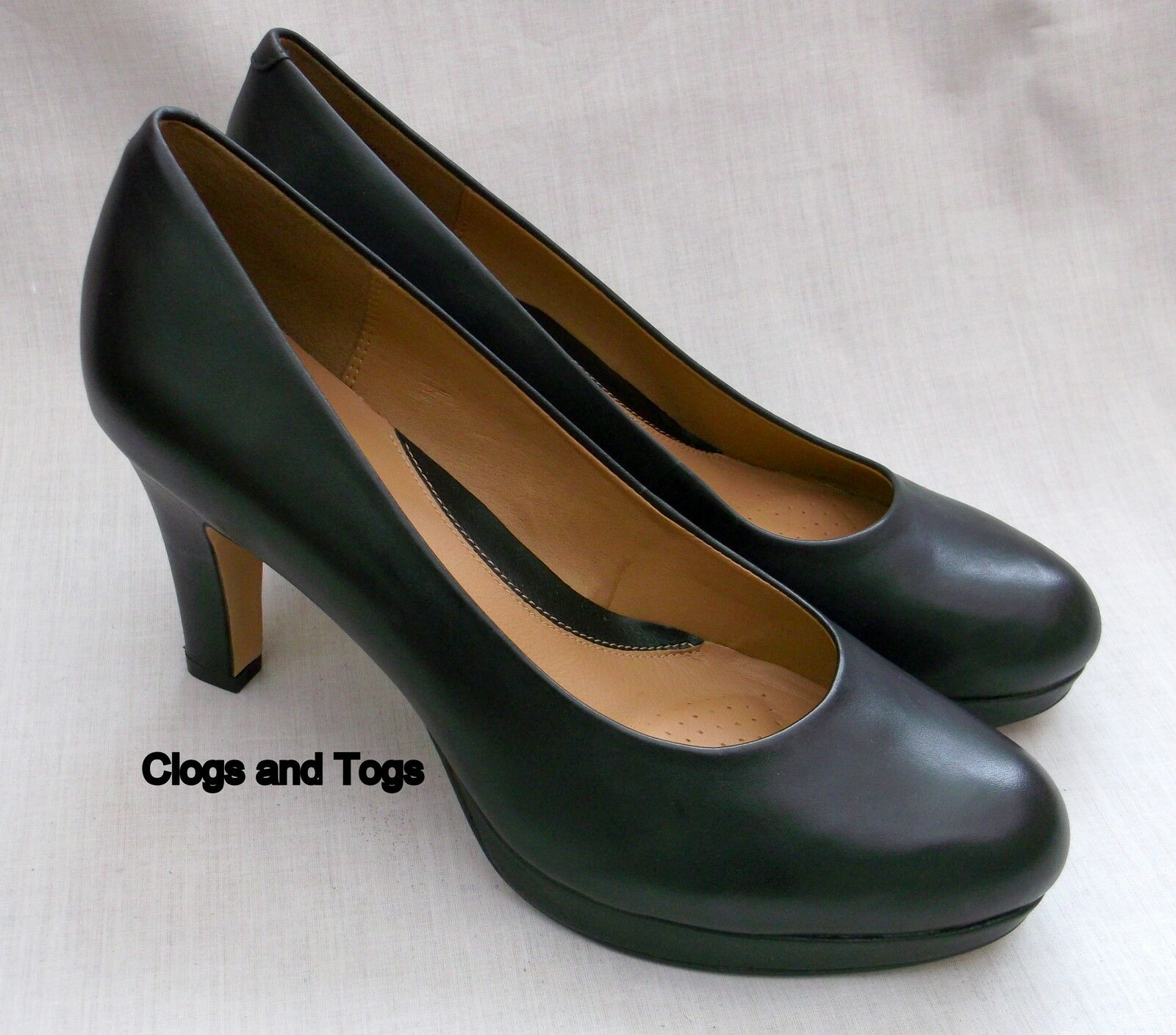 NEW CLARKS SOFTWEAR ANIKA KENDRA BLACK LEATHER PLATFORM SHOES