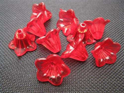 "10 Acrylperlen /"" Blüte /"" 10x15mm rot klar Perlen 10160"