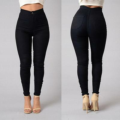 US Women Pencil Stretch Casual  Denim Skinny Jeans Pants High Waist Trousers Y