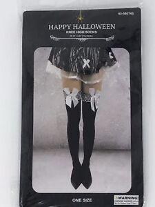 0e2991b8cf145c Women/Teens Black Knee High Socks w/White lace Garter White Bow 28 ...