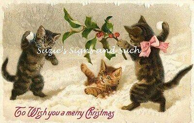 Vintage Christmas Fabric Block Snowball Fight Kittens