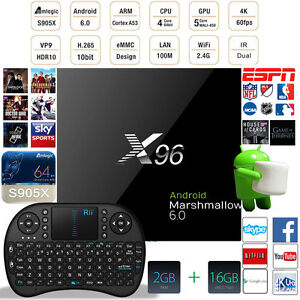 Details about 16 1 X96 4K 64bit WIFI Android 6 0 Smart TV Box Fully Loaded  2G+16G + Keyboard
