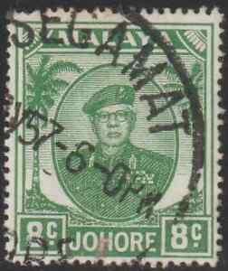 MALAYSIA-MALAYA-JOHORE-1949-8c-GREEN-USED-ISC-CAT-RM-10
