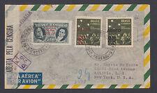 Brazil Sc C45, C55v, C57 on 1944 Censored Registered Air Mail Cover, Error.