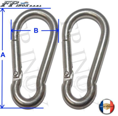 Lot de 2 inox A4-316 Mousqueton Longueur 60mm