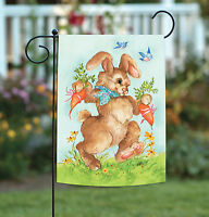 Toland - Bunny Gift - Rabbit Blue Bird Carrot Spring Garden Flag