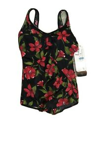 NWT $59.00  BODY ID Women's Black/Red Floral One-Piece Tummy Control Size 14