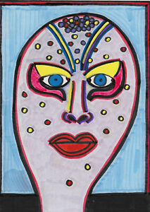 Original-Painting-Drawing-by-Jay-Snelling-Outsider-Art-Brut-Priscilla-Queen