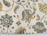Drapery Upholstery Fabric Mottled Floral Leaf Design on Linen - Brown / Blue
