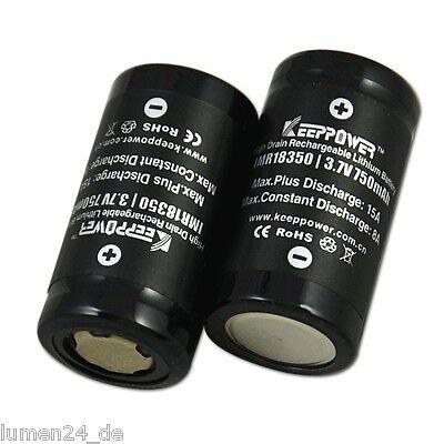 2x Keeppower IMR 18350 - 750mAh, 3,7V ( 15A ) Li-ion Akku