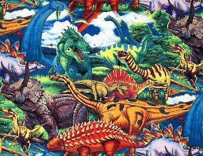 Wall Hanging Quilt Top David Textiles Dino Land Dinosaur Cotton fabric