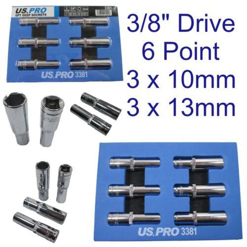 Solo zócalo profundo Hex 6pc 3x 10mm y 3x 13mm Métrico 3//8 Pulgadas Unidad 3381