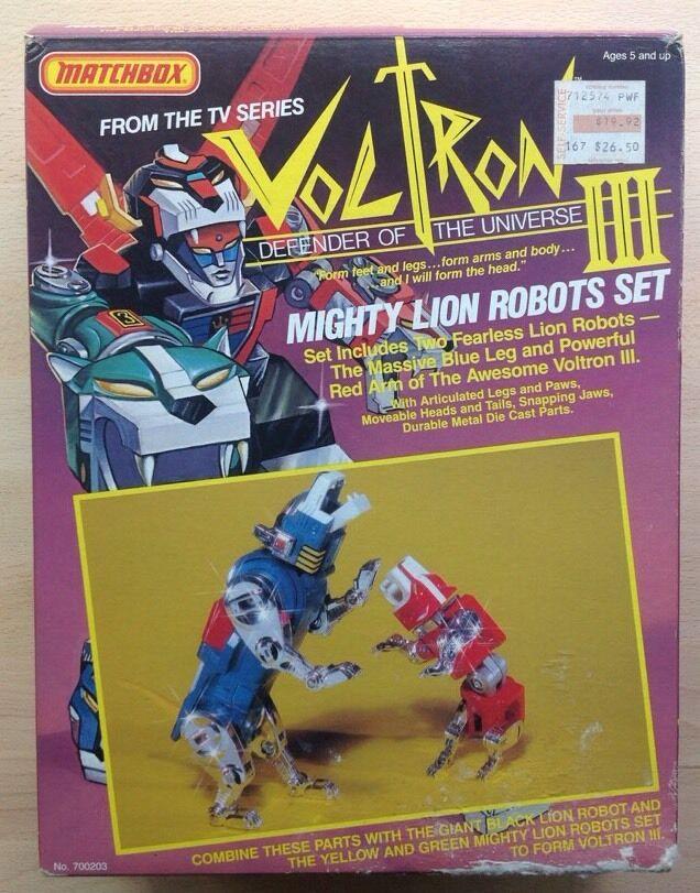 Vintage Voltron Matchbox Mighty León Conjunto Rojo Azul Leones