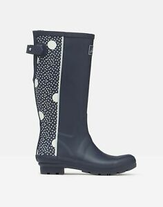 Joules Womens Printed Wellies With Back Gusset - Navy Pod Spot