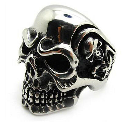 Men's PUNK gothic biker skeleton silver stainless steel cool skull party Ring CN
