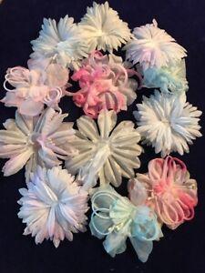 Vintage-Millinery-Flower-Collection-Pink-Blue-White-Hat-Trim-Pastel-12p-Lot-G1a