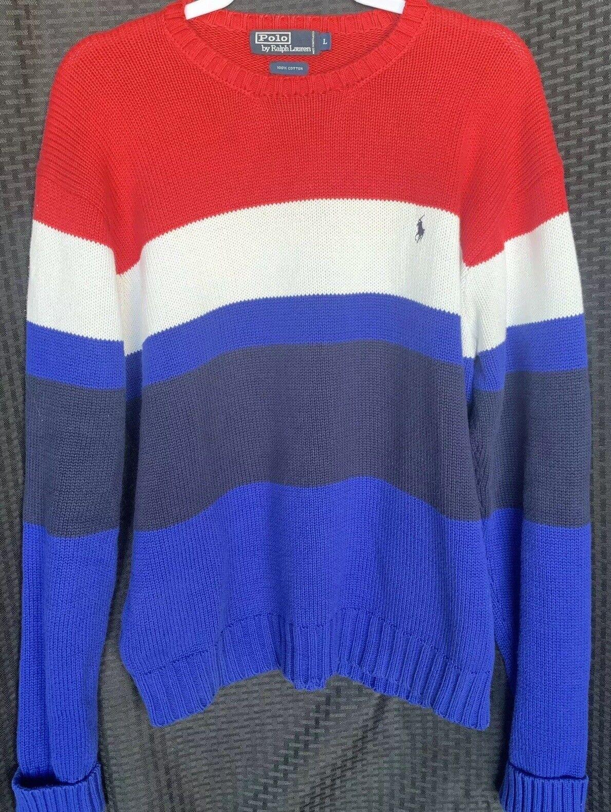 Polo Ralph Lauren Knit schweißer herren groß Patriotic rot Weiß Blau 100% baumwolle