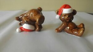 VINTAGE-PATMAR-JAPAN-CHRISTMAS-TEDDY-BEARS-WEARING-SANTA-HATS-SET-OF-2