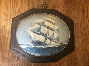 Vintage-Wood-Ship-Picture-Wall-Hang-Plaque-Art-12-x10